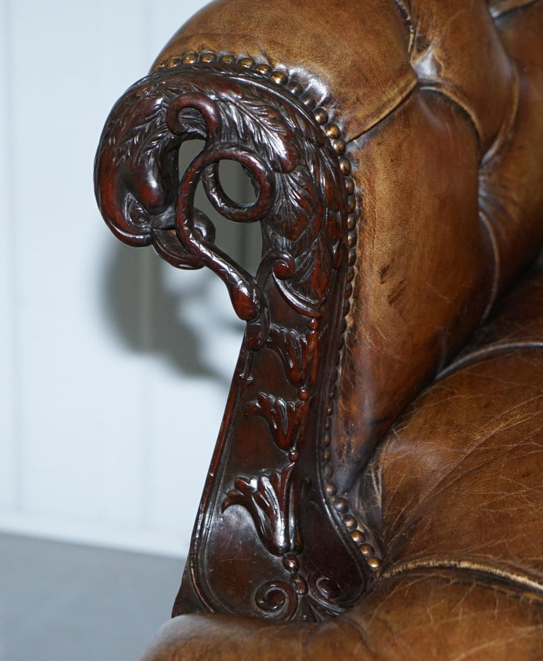 19th Century Hand Carved Hawk Claw and Ball Feet Chesterfield Sofa Brown Leather For Sale 3