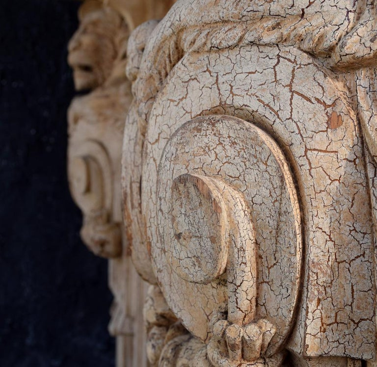 Oak 19th Century Hand Carved Lion Console Decorative Unique Furniture For Sale