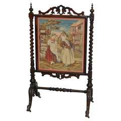 19th Century Hand Carved Mahogany and Petit Point Fire Screen