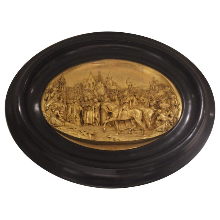19th Century, Hand-Carved Meerschaum Bas Relief Plaque, Justin Mathieu - French  For Sale