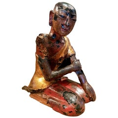 19th Century Hand Carved & Metal Sculpture of a Seated Buddhist Monk Statue
