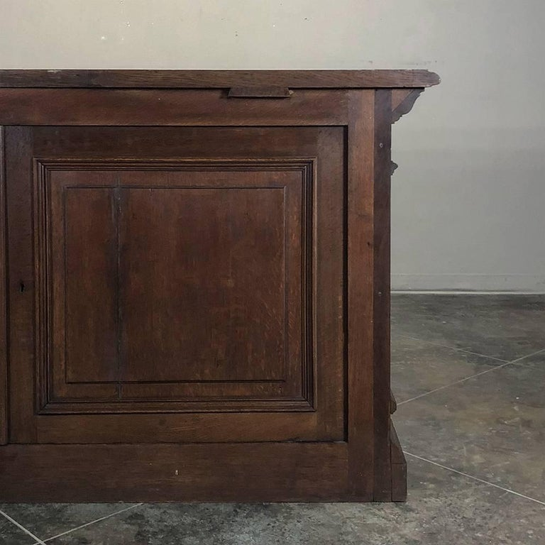 19th Century Hand Carved Oak Chapel Altar, Linen Press Counter For Sale 7