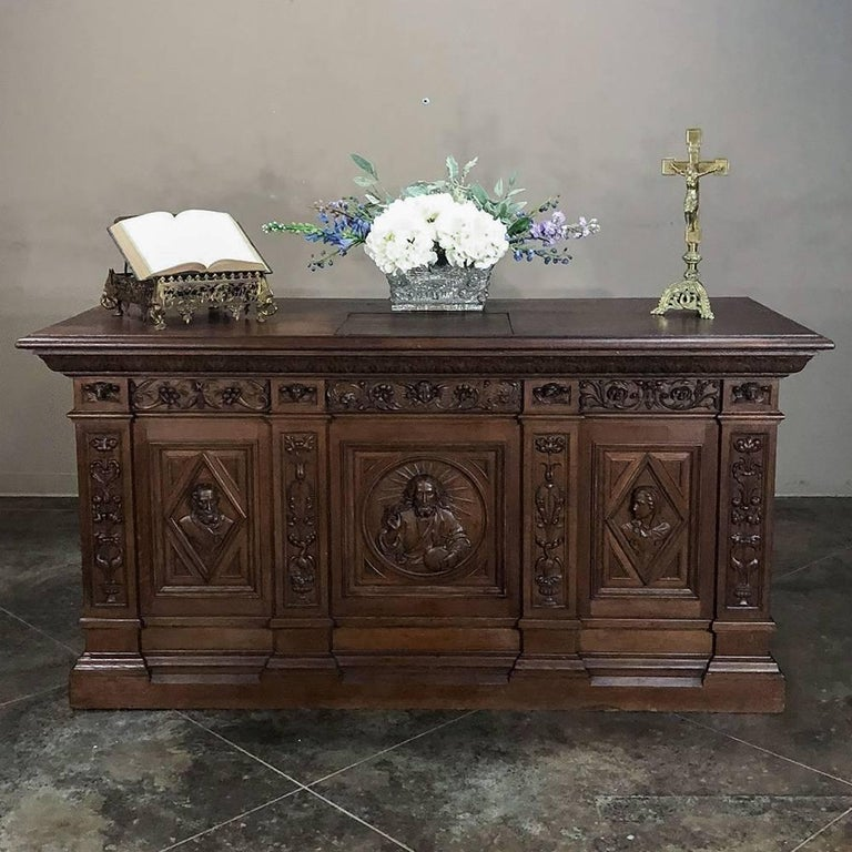 French 19th Century Hand Carved Oak Chapel Altar, Linen Press Counter For Sale