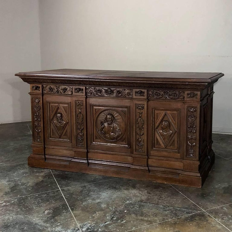 19th Century Hand Carved Oak Chapel Altar, Linen Press Counter In Good Condition For Sale In Dallas, TX