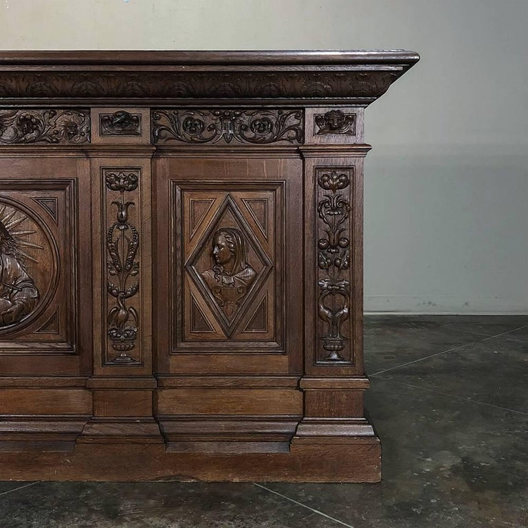 Family Altars For Sale: 19th Century Hand Carved Oak Chapel Altar, Linen Press