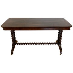 19th Century Hand Carved Rosewood Desk W/Barley Twist Legs & Trestle Base
