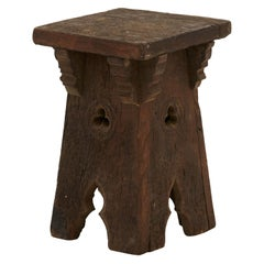 19th Century Hand Carved Spanish Gothic Stool