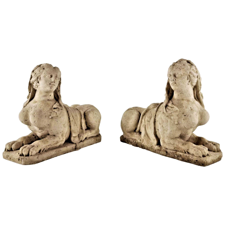 19th C. Hand Carved Stone Statues Sphinx Sculpture Statuary Garden Antiques LA