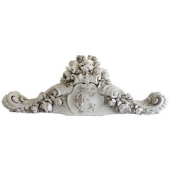 19th Century Hand Carved Walnut Architectural Header or Centerpiece with Roses