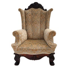 19th Century Hand Carved Walnut Wing Chair