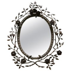 19th Century Hand Forged French Oval Mirror
