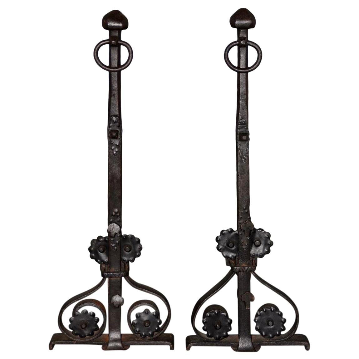 19th Century Hand Forged Wrought Iron Andirons