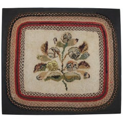 19th Century Hand Hooked Folky Floral Rug Mounted with Braided Border