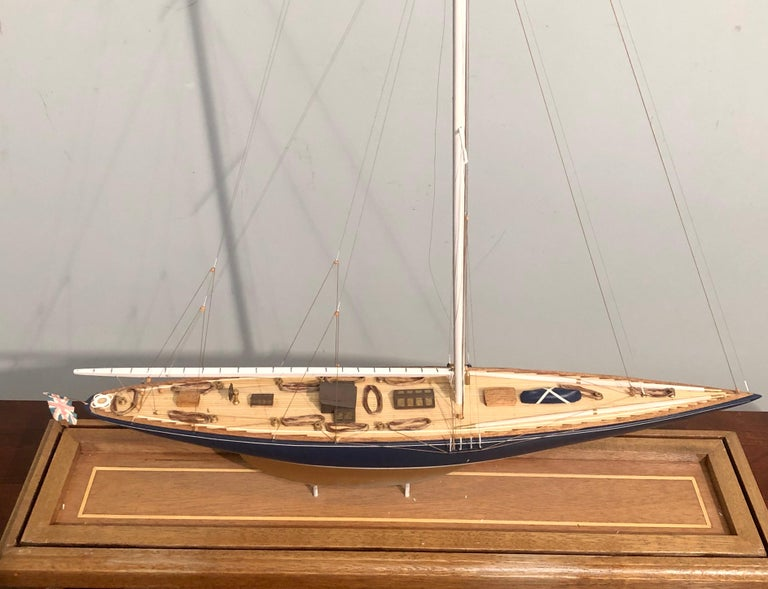 Hand-Crafted 19th Century Hand Modeled Clipper Ship in a Glass and Bronze Case For Sale