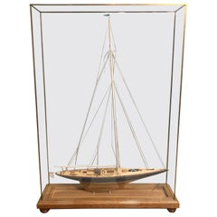 19th Century Hand Modeled Clipper Ship in a Glass and Bronze Case