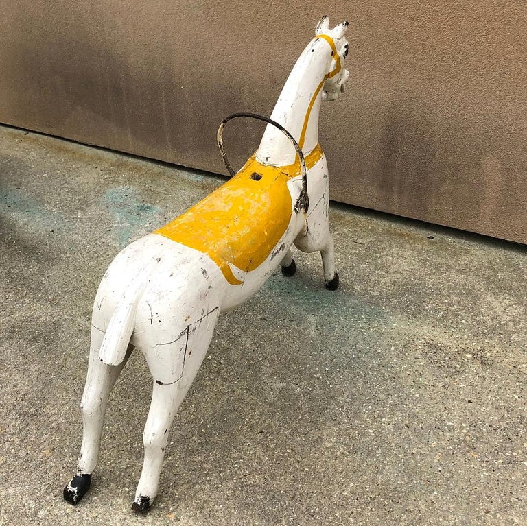 19th Century Hand Painted Carved Wood Carousel Horse For Sale 3