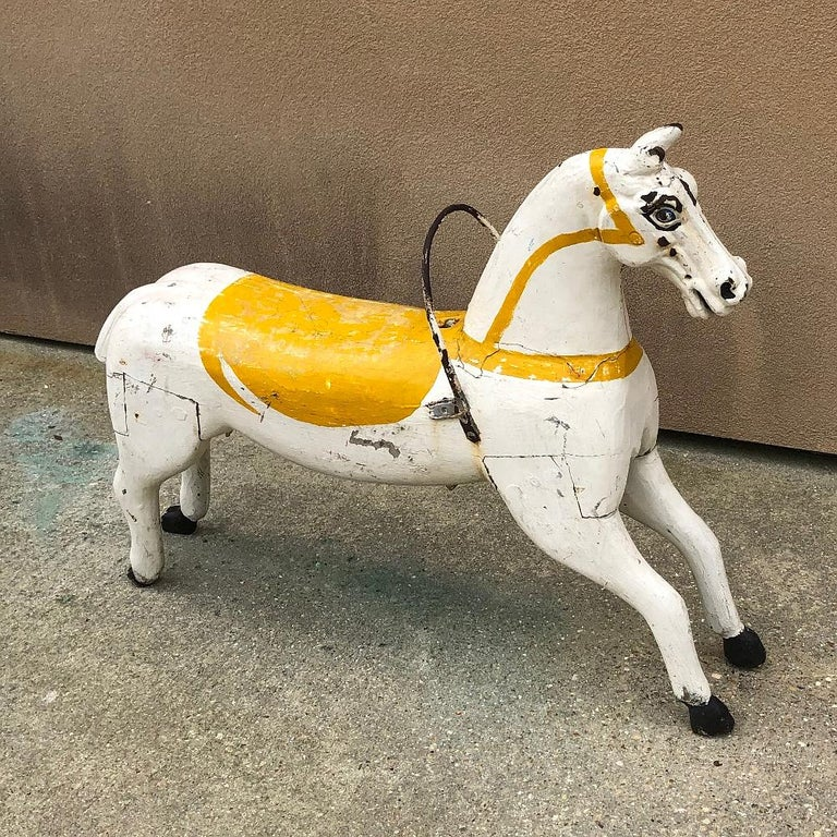 Belle Époque 19th Century Hand Painted Carved Wood Carousel Horse For Sale