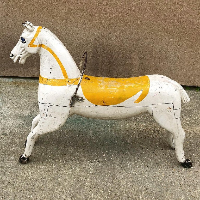 French 19th Century Hand Painted Carved Wood Carousel Horse For Sale