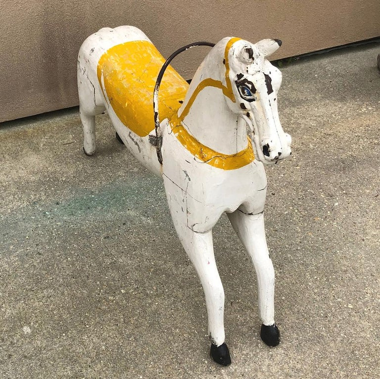 Hand-Painted 19th Century Hand Painted Carved Wood Carousel Horse For Sale