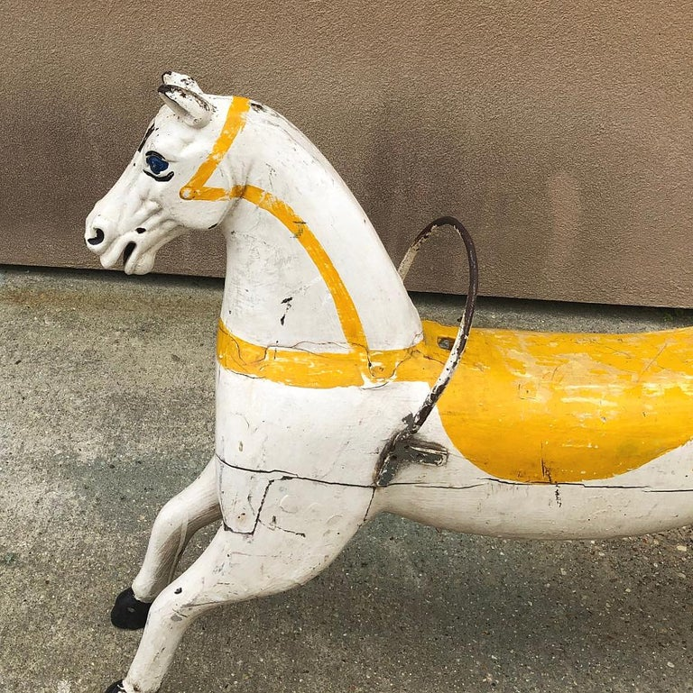 Late 19th Century 19th Century Hand Painted Carved Wood Carousel Horse For Sale