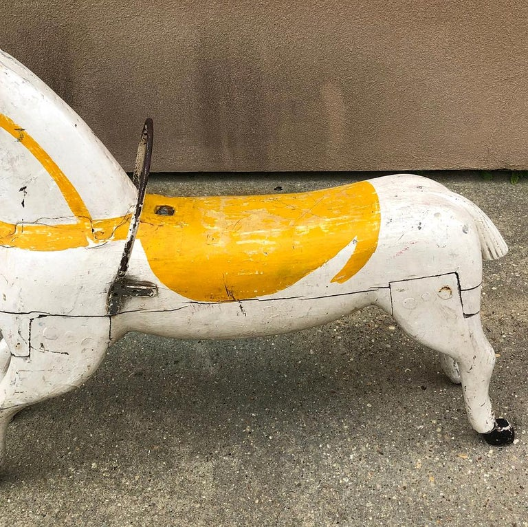 19th Century Hand Painted Carved Wood Carousel Horse For Sale 1