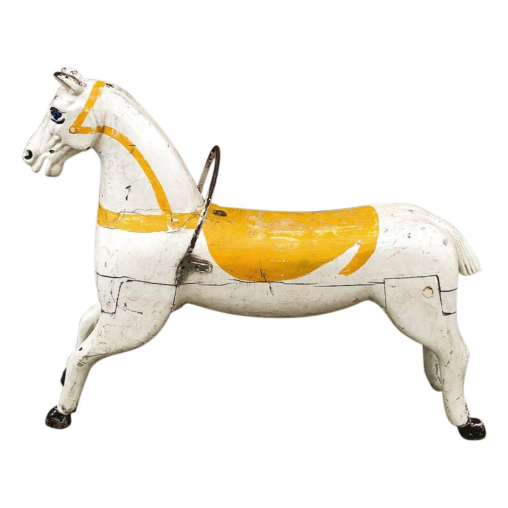 19th Century Hand Painted Carved Wood Carousel Horse
