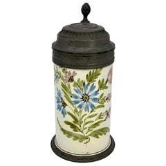 19th Century Hand Painted Ceramic Beer Mug with Tin Lid Engraved with a Bock