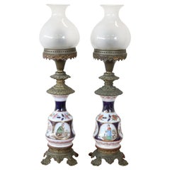 19th Century Hand Painted Ceramic Pair of Antique Oil Table Lamps