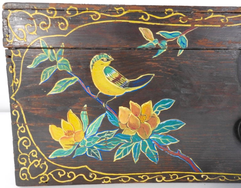 Folk Art Hand Painted Asian Trunk, 19th Century For Sale