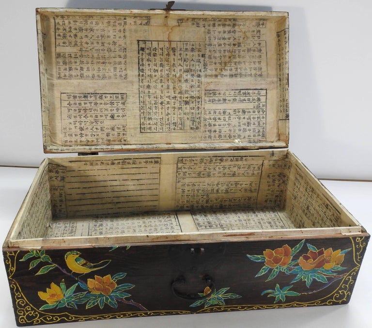 Cast Hand Painted Asian Trunk, 19th Century For Sale