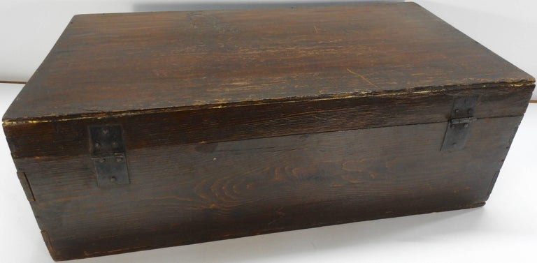 Iron Hand Painted Asian Trunk, 19th Century For Sale
