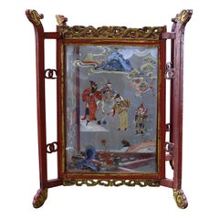 19th Century Hand Painted Chinese Wooden Lantern