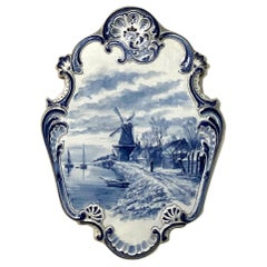 19th Century Hand Painted Delft Blue and White Wall Plaque