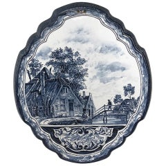 19th Century Hand-Painted Delft Platter