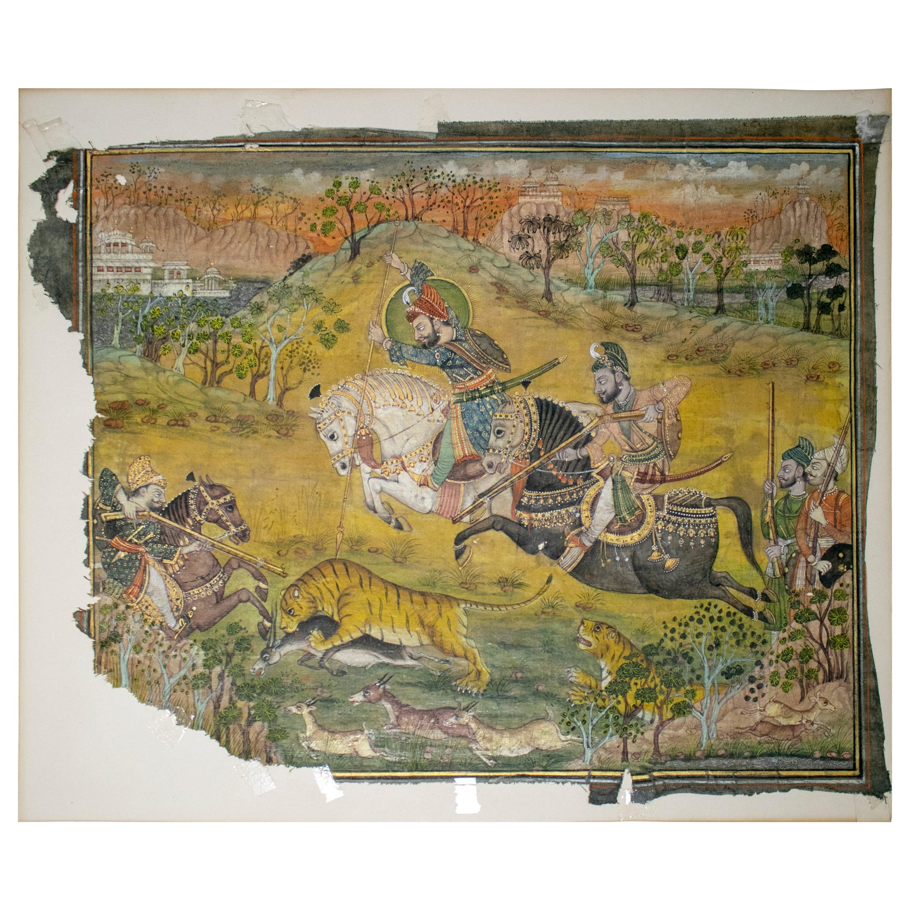 19th Century Hand Painted Drawing on Indian Cloth