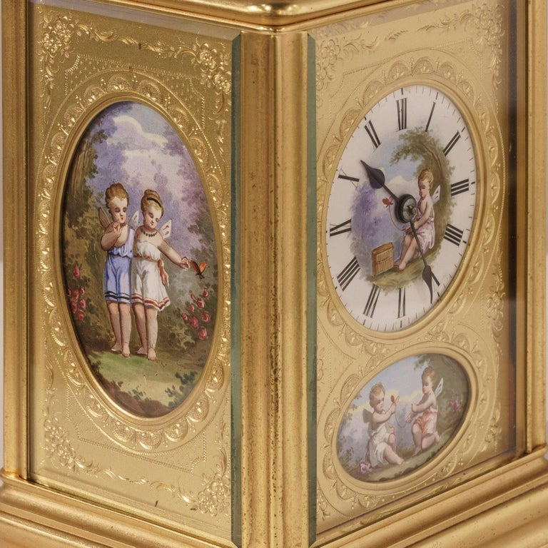 French 19th Century Hand Painted, Engraved and Gilt Brass Carriage Clock For Sale