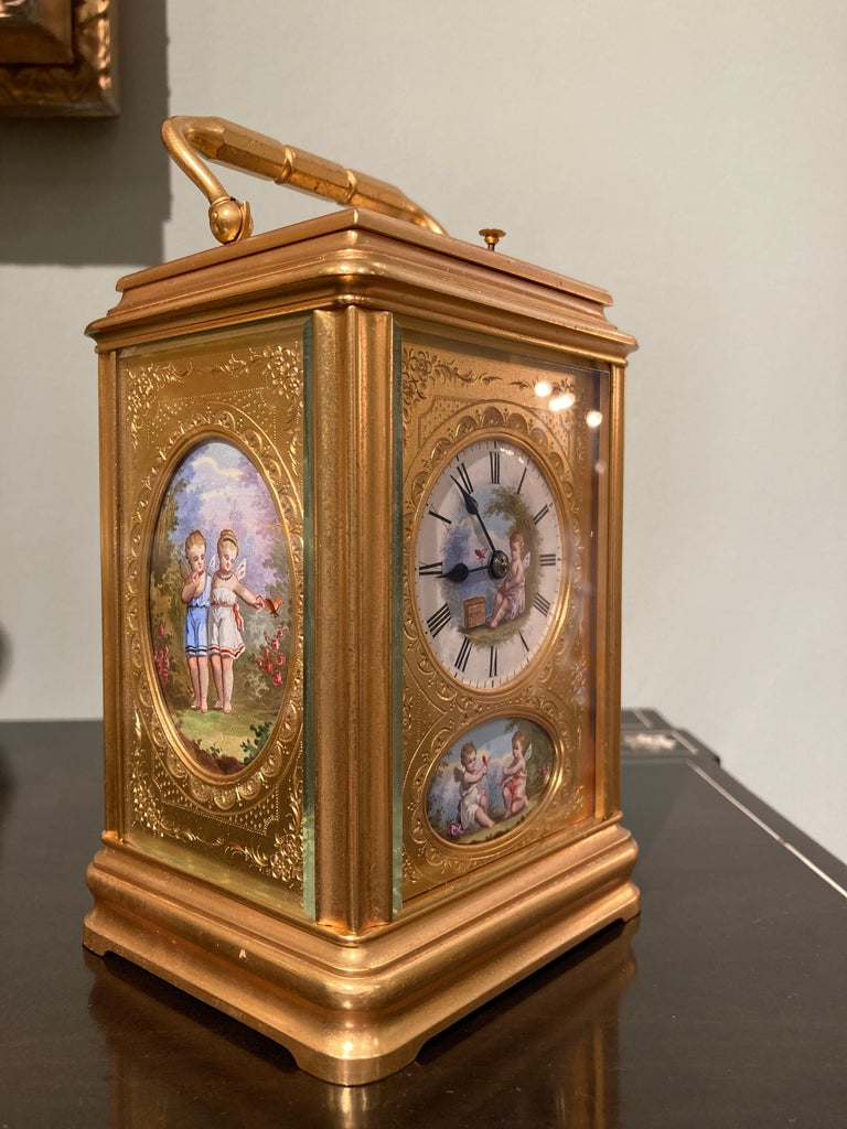 19th Century Hand Painted, Engraved and Gilt Brass Carriage Clock In Good Condition For Sale In London, GB