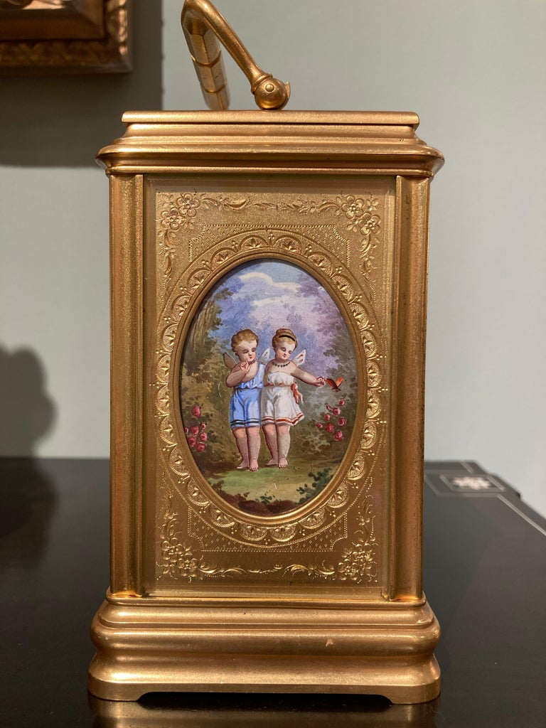 19th Century Hand Painted, Engraved and Gilt Brass Carriage Clock For Sale 1