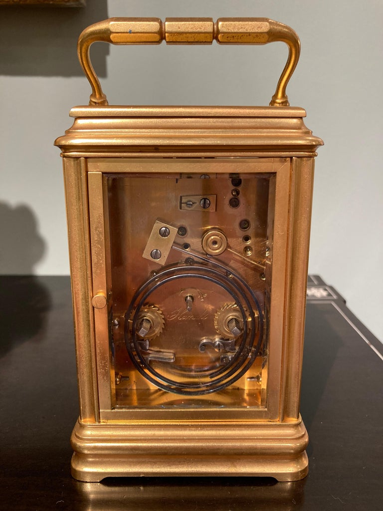 19th Century Hand Painted, Engraved and Gilt Brass Carriage Clock For Sale 2