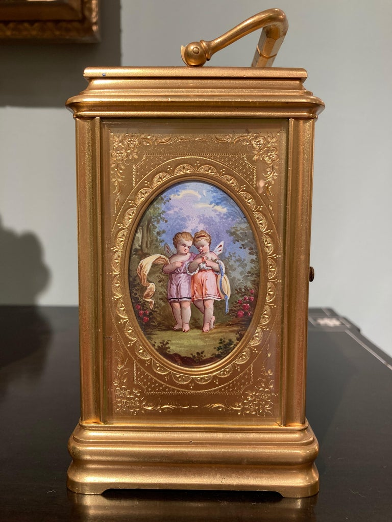 19th Century Hand Painted, Engraved and Gilt Brass Carriage Clock For Sale 3