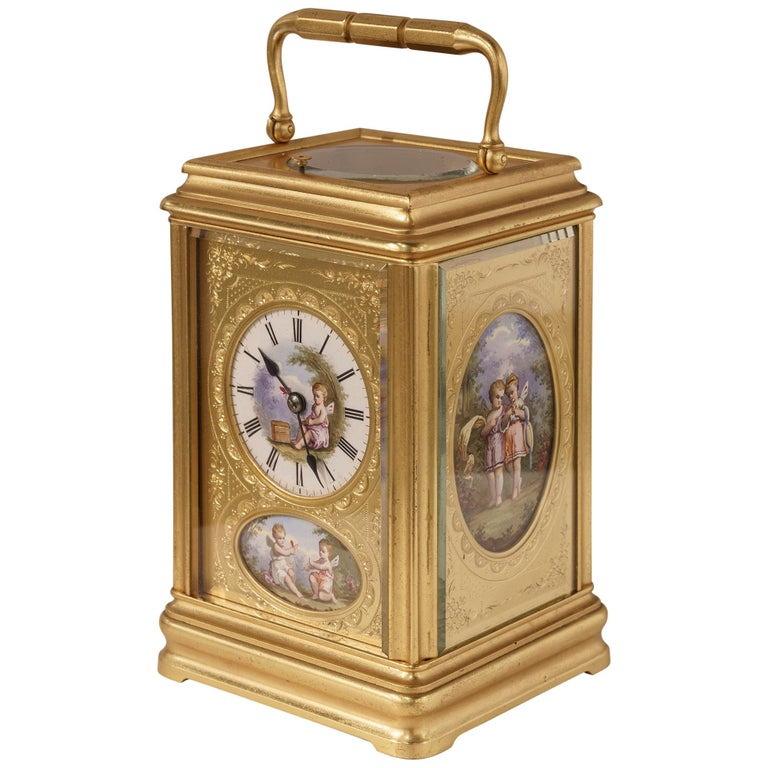 19th Century Hand Painted, Engraved and Gilt Brass Carriage Clock For Sale