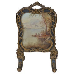 19th Century Hand Painted Fire Screen