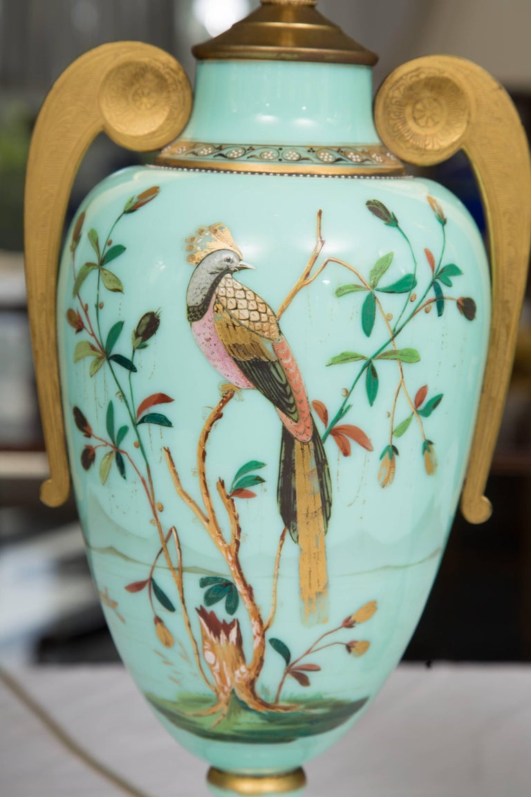 19th Century Hand-Painted French Opaline Lamps For Sale 5