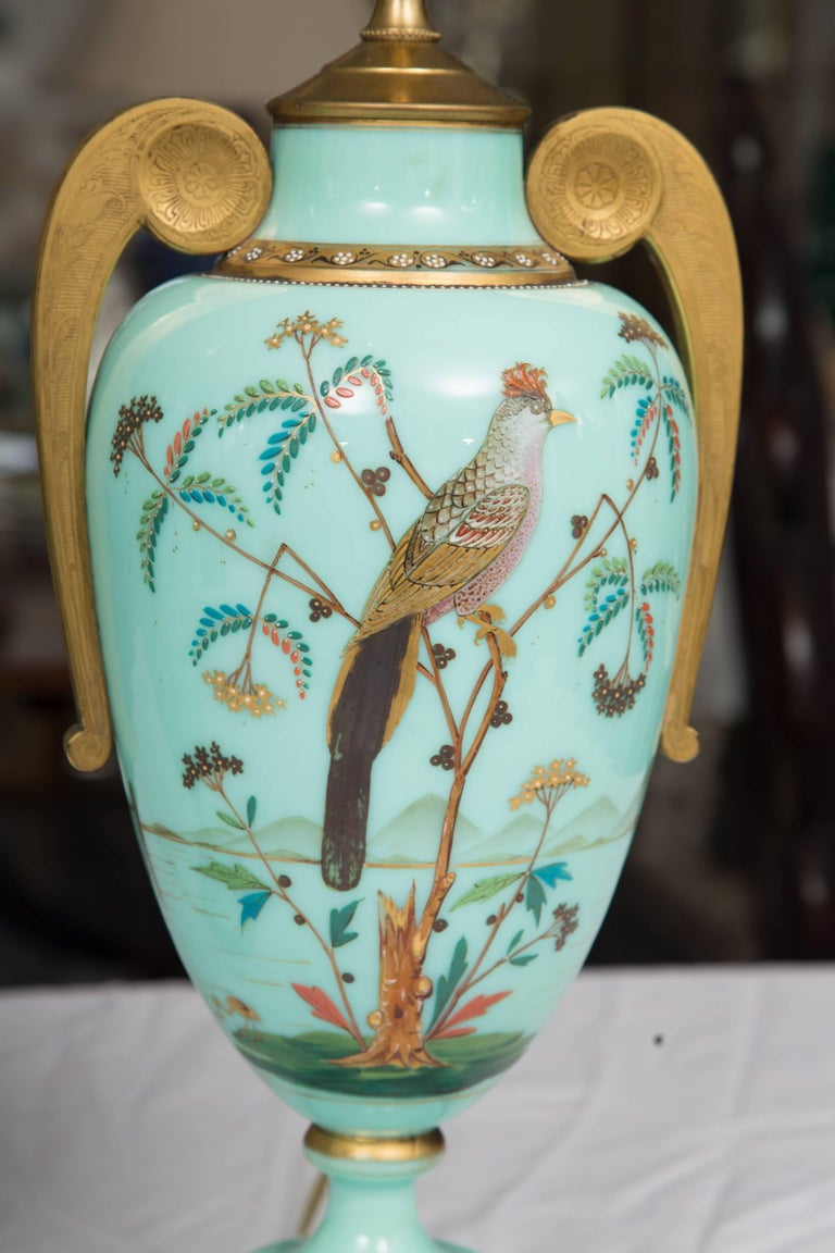 19th Century Hand-Painted French Opaline Lamps For Sale 6