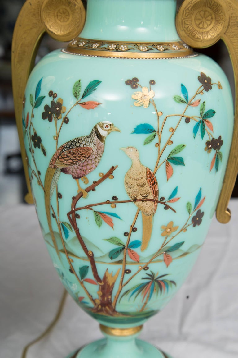 19th Century Hand-Painted French Opaline Lamps In Good Condition For Sale In WEST PALM BEACH, FL