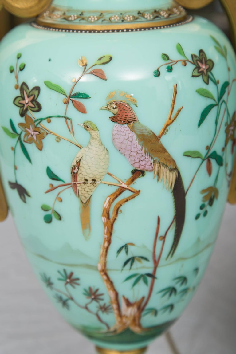 Glass 19th Century Hand-Painted French Opaline Lamps For Sale