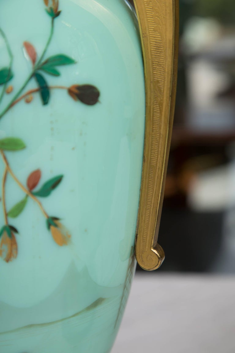 19th Century Hand-Painted French Opaline Lamps For Sale 1