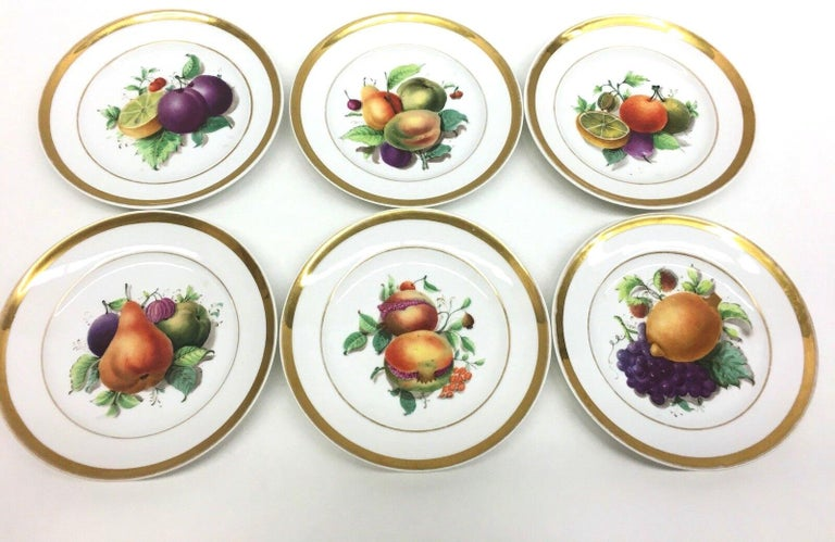 Mid-Century Modern 19th Century Hand Painted Fruits Motif Plates, Set of Six, 1860s Thuringia For Sale
