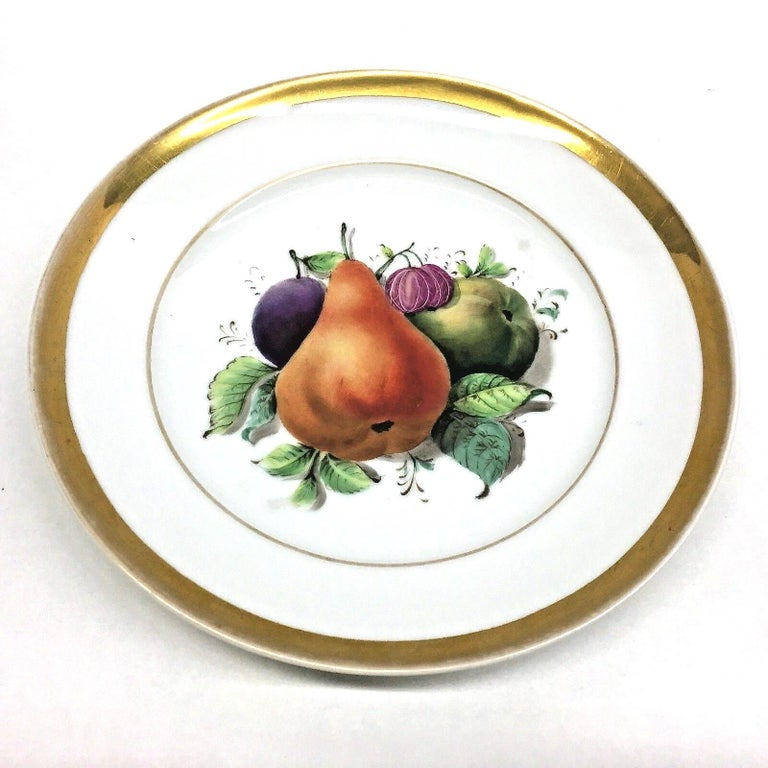 German 19th Century Hand Painted Fruits Motif Plates, Set of Six, 1860s Thuringia For Sale