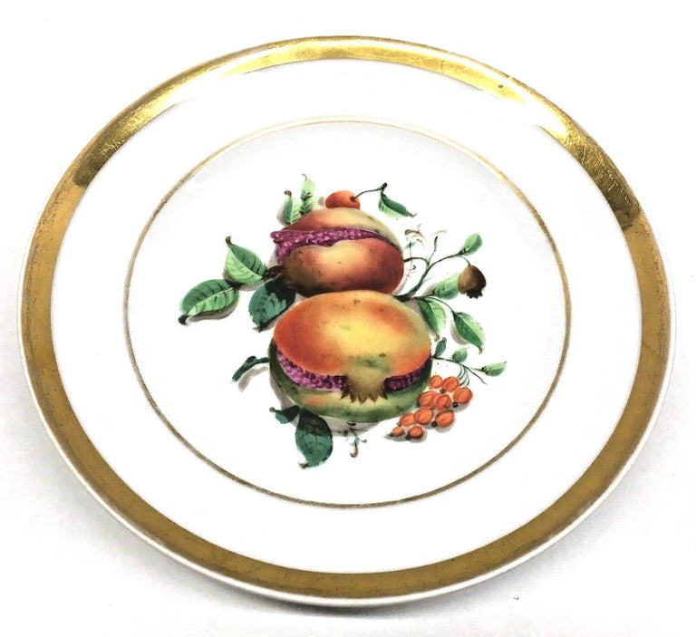 19th Century Hand Painted Fruits Motif Plates, Set of Six, 1860s Thuringia In Good Condition For Sale In Nürnberg, DE